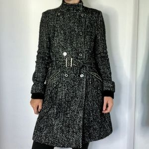 Express Belted Black White Wool  Long Peacoat